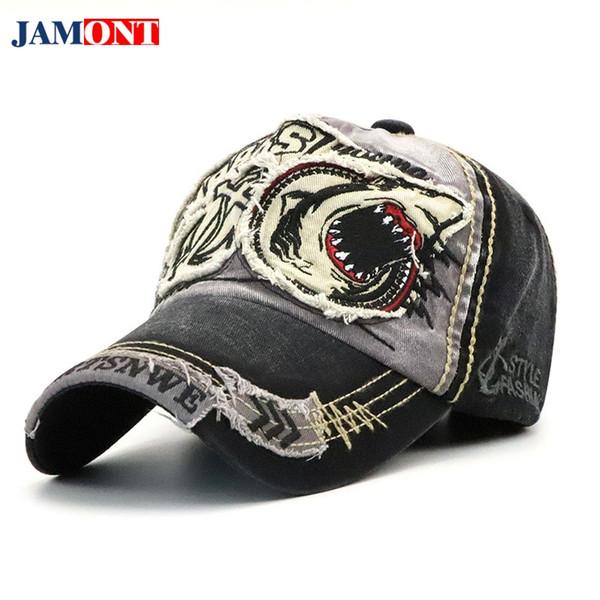 cfffd2efa40 2018 Baseball Cap Dad Hat For Men Women Baseball Cap Cotton Shark  Embroidery Fitted Cartoon Hats