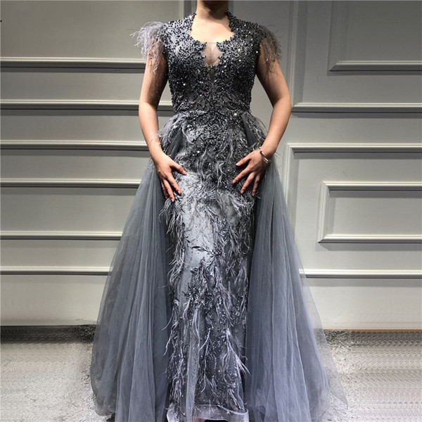 Luxury Pearl Beaded Mermaid Prom Dress With Detachable Train Sexy Feathers Sheath Formal Evening Gown Vintage Long Party Pageant Dresses