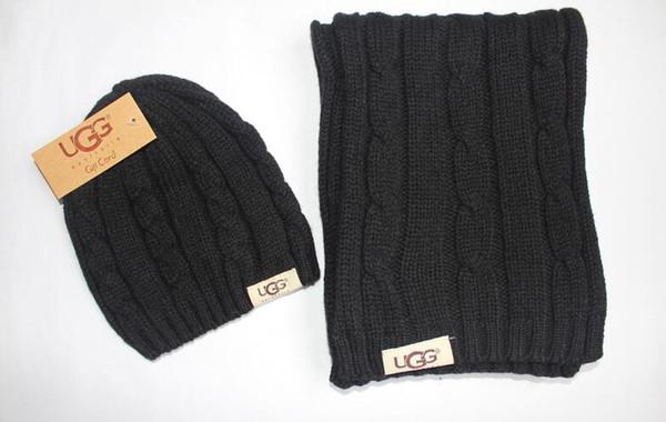 Горячие продажи Новая мода зима и осень теплая Hat Cap Мужчины Женщины шарф шапки Вязаные шапки шарф наборы Шерсть Beanie Обертывания шарфы
