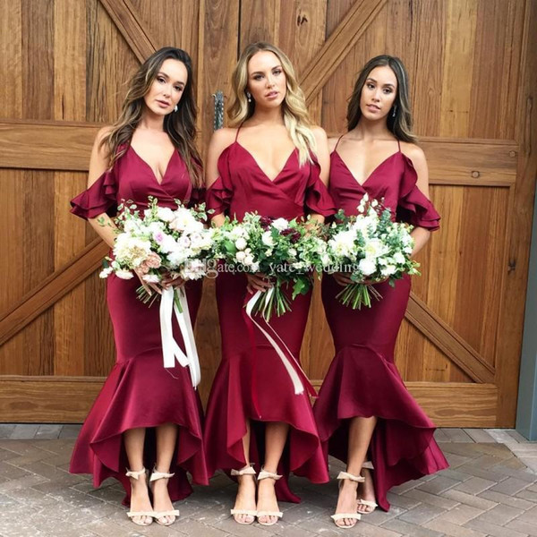 Burgundy Mermaid Bridesmaid Dresses 2018 V Neck Satin Tea Length Boho Bridesmaid Dresses Royal Blue Purple Maid of Honor