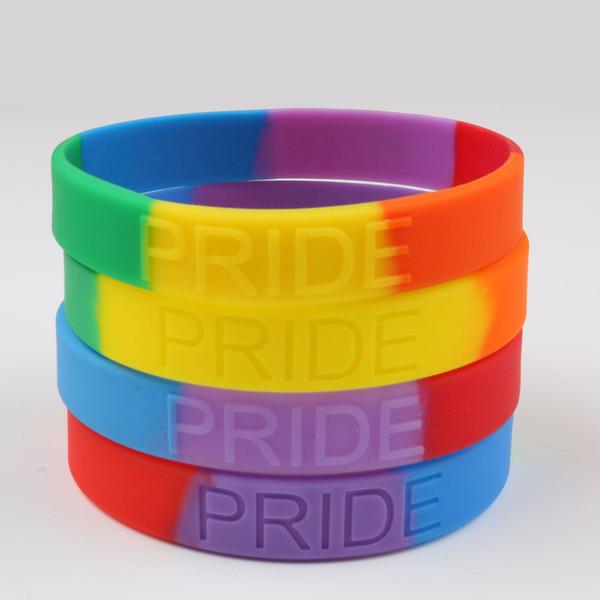 Braccialetti in silicone arcobaleno Braccialetti in silicone colorato Braccialetti in gomma orgoglio LGBT Gay Pride Braccialetti con gioielli arcobaleno favore del partito FFA2612