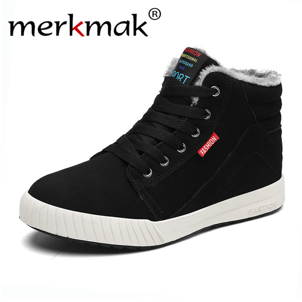 merkmak New winter Men's Boots Warm Wool Men Sneakers Outdoor WaterProof Male Shoes Ticken Plus Warm Footwear for Men Hot