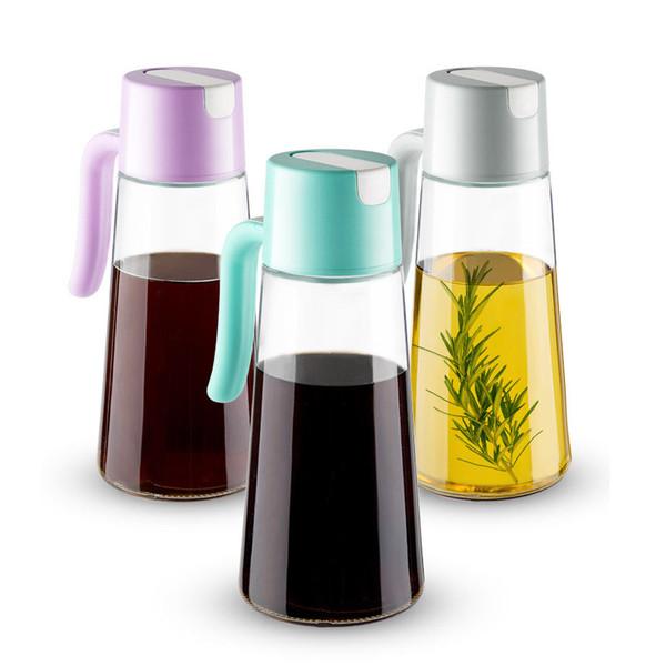 Automatico di apertura e chiusura Olio Aceto dosatore per bottiglia antigoccia Piombo Freee Glass Jar condimento 500 ml / 17 oncia Viola Blu Grigio