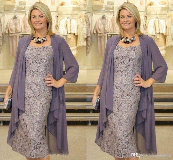 Waishidress Tea Length Plus Size Mother Of The Bride Dresses Chiffon Jacket  3/4 Sleeves Spaghetti Lace Special Occasion Dress Plus Size Mother Of The  ...