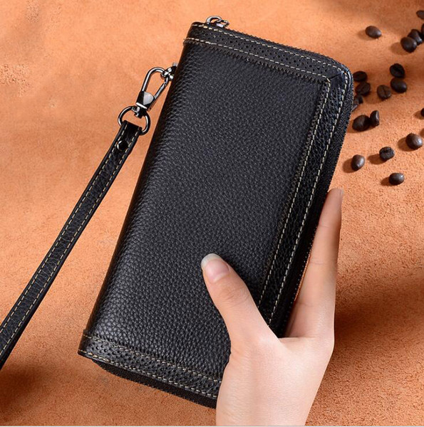 Wholesale 2019 Fashion Women Single Zipper Cheap Wallet Clip Designer Women Cowhide Leather Wallet Ladies Long Multi-card Position Purse