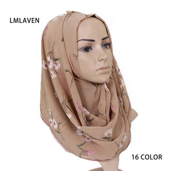 women print chiffon hijab scarf floral pattern wrap and scarves muslim fashion shawl headscarf muffler pashmina 180*70cm