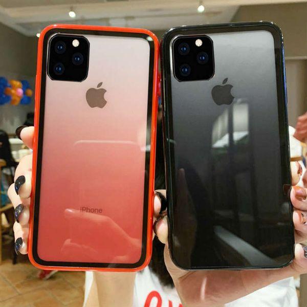 Pour iPhone 11 Pro Max Acrylique clair dégradé Cas de téléphone arc-en-couverture arrière Protecteur transparent pour Apple X XR XS Max 6 6s 6plus 7 8 8plus