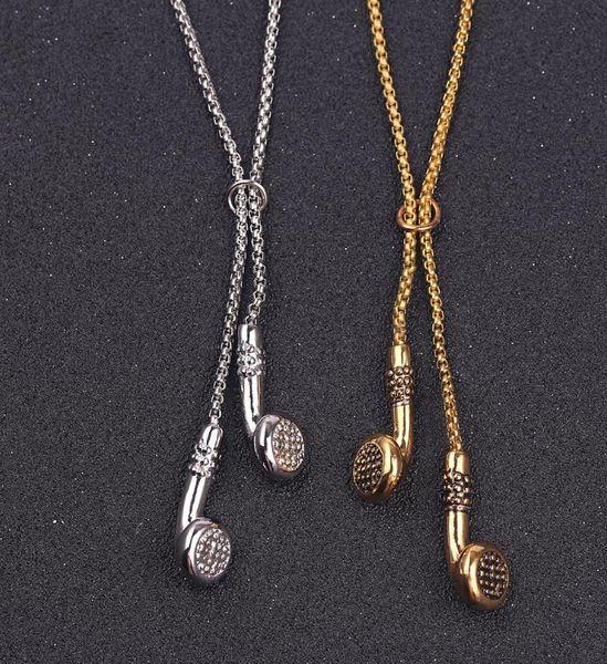 Hip Hop Fashion Music Earphones Earrings Pendant Metal Men's Clothing Accessories Necklace