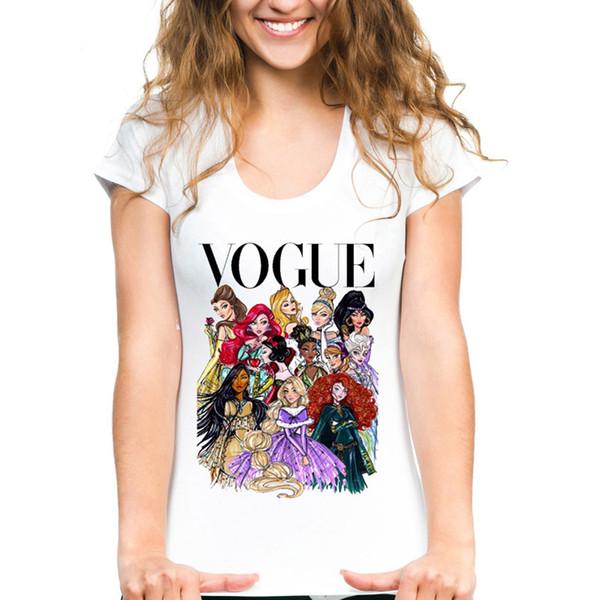 Women White Tshirts VOGUE Punk Princess queen Printed Summer Fitness cartoon Kawaii Short Sleeve T-Shirts for girls