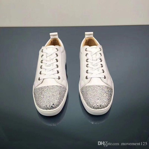 High Quality White Leather With Strass Round Toe Leisure Brand Red Bottom Sneakers White Shoes Party Wedding Walking Flats