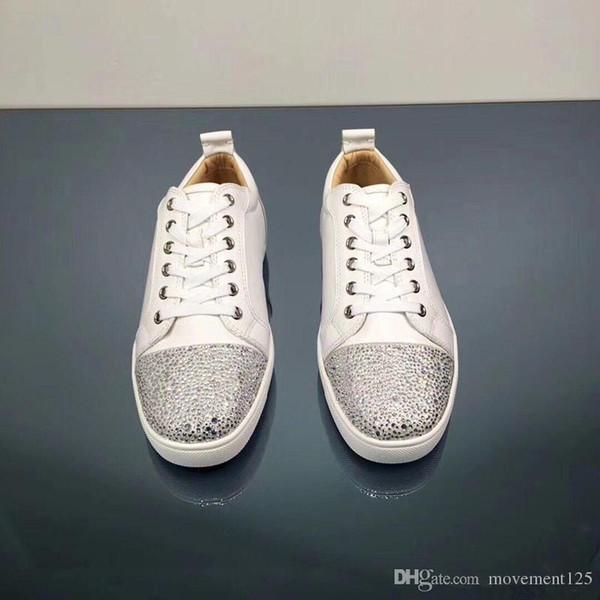 De haute qualité en cuir blanc avec strass bout rond Marque Loisirs Bas Rouge Chaussures de sport Chaussures de soirée de mariage blanc marche Flats