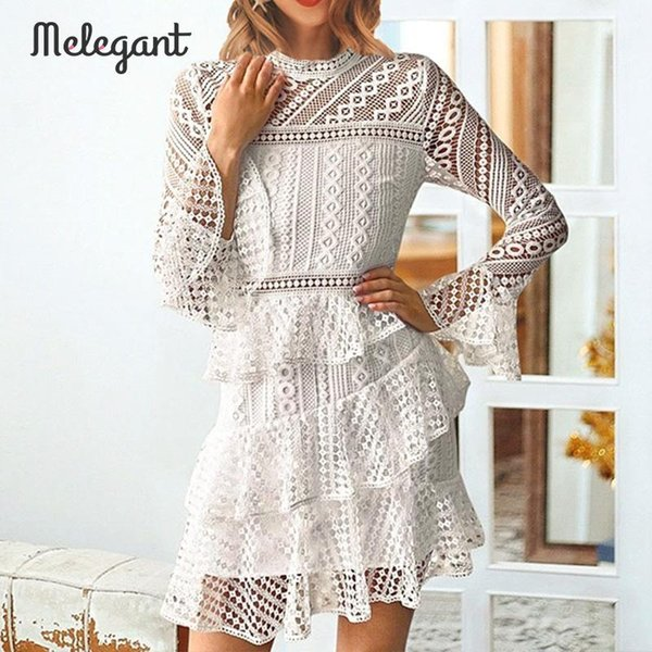 Melegant Party White Lace Dress Women Winter 2019 Elegant Ruffles Dresses  Flounces Layers Ladies Plus Size Dress Vestidos Lace Summer Dresses Cheap  ...