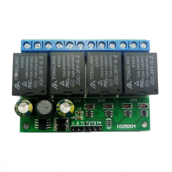 4 canales DC 6V-24V Flip-Flop Latch Módulo de relé biestable de bloqueo automático del interruptor electrónico de bajo pulso del botón de disparo Junta MCU IO Control