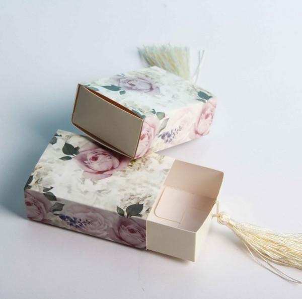Paquete de caja de regalo de flores Caja de dulces de papel Cajón Forma Caja del favor Cajas de dulces de viaje Regalo de favores de la boda