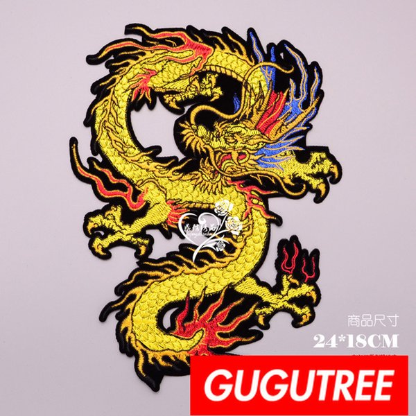 GUGUTREE embroidery big patches dragon patches badges applique patches for clothing BP-709