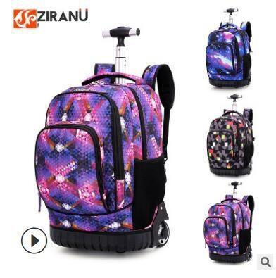 18 Inch Wheeled Backpack Kids School Backpack On Wheels Trolley Backpacks Bags For Teenagers Children School Rolling