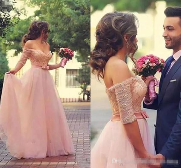 Romantic Blush Pink Vestidos de noche Tulle Una línea Larga sin respaldo Fuera del hombro Tallas grandes Lazo de encaje Vestido de fiesta de novia Imagen real