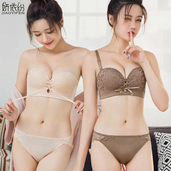 Sexy Half Cup Lace Bra Set Women Seamless No Straps Non-slip Underwear Fine Embroidery Deep V Push Up Bra Set and Panty Lingerie