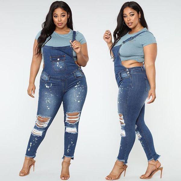 2019 Été Mode Femmes Plus Size Denim long barboteuses Trou Salopette Jeans Ripped Bodys Skinny Casual Tenues solides