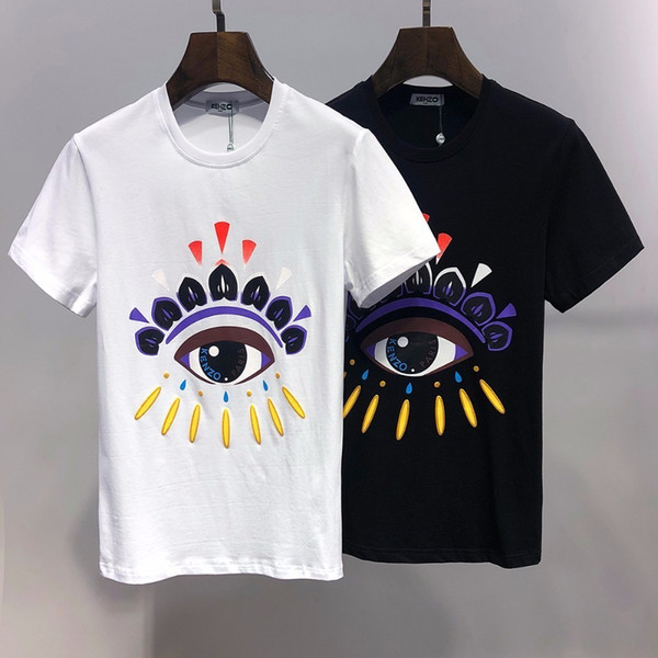 Fashion men's 2019 new cotton personality Slim thin short-sleeved men's trend high-end explosions casual T-shirt 714 6619