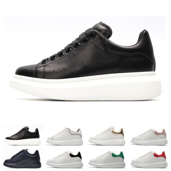 2019 New Designer 3M reflective white black leather casual shoes for girl women men pink gold red fashion comfortable flat sneakers