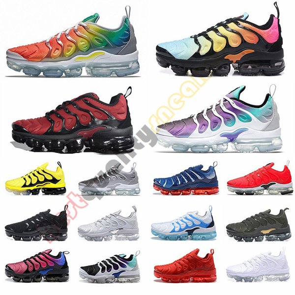 2019 TN Plus Rainbow Mens Running Shoes Bright Crimson Red Grape Triple Black Breathable Women Designer Casual Sneakers Trainers Size 36-46