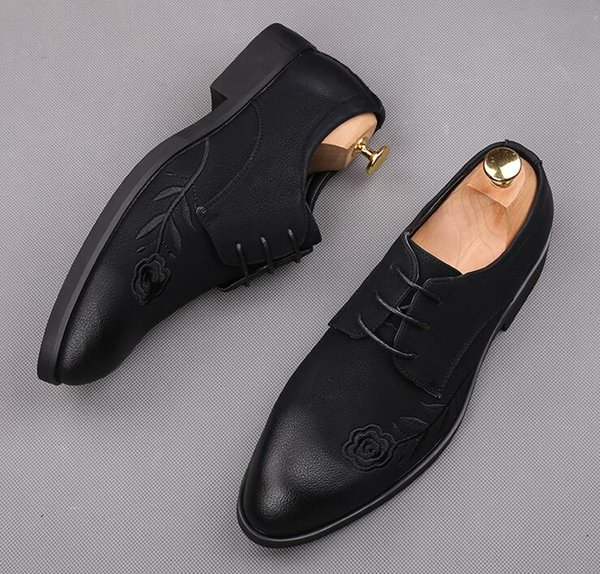 Fashion Men Retro Designer pointed rose flower flat lace-up shoes Homecoming Male Wedding Formal Dress Quinceanera Shoes for man
