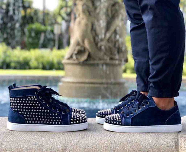 Navy Blue Velvets Red Bottom Men's Shoes Sneakers Spiked Louisflats Junior Spikes Orlato Shoes Red Sole Leather With Sliver Spiked High top