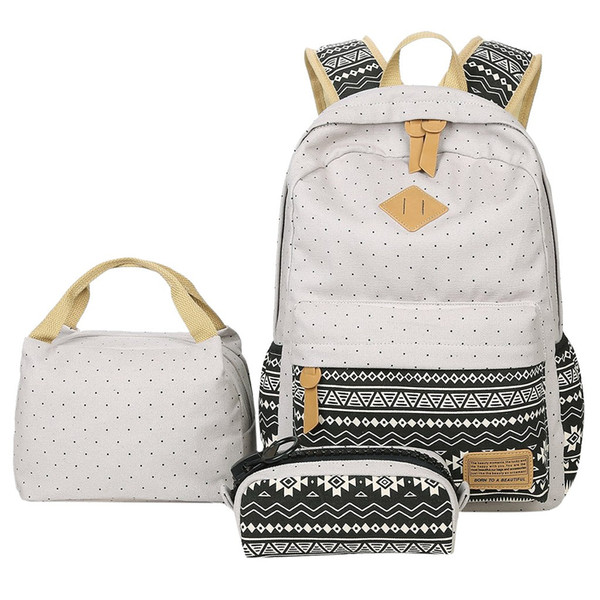 Summer 2019 Hot Sale3PC Girl Canvas Laptop Striped LunchDot Trim Cute Sweet Printing Backpack Purse Bags for Student