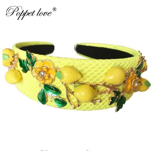 Барокко Мода Подиум Cute Желтый Лимонный цветок оголовье для женщин Luxury Vintage Wideside Аксессуары для волос ювелирные изделия