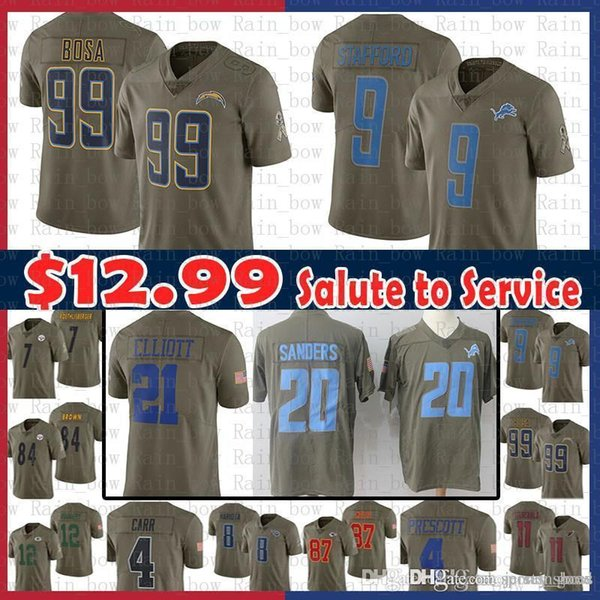 new concept b00c6 cbbf9 2019 Sale Los Angeles Chargers Jersey 99 Joey Bosa 2017 Salute To Service  Detroit Lions 9 Matthew Stafford 20 Barry Sanders 21 Elliott Cowboys From  ...