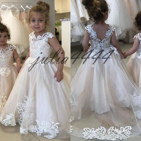 a00ed0dd5a8 New Jewel A Line Flower Girl Dresses Button Back Beaded Belt Tulle Long Applique  Girl Pageant