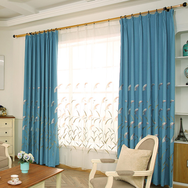2019 Blue Linen Curtain Cloth European Embroidery Ecological Linen Nordic  Blackout Curtains Living Room Bedroom Balcony Curtain Customized From ...