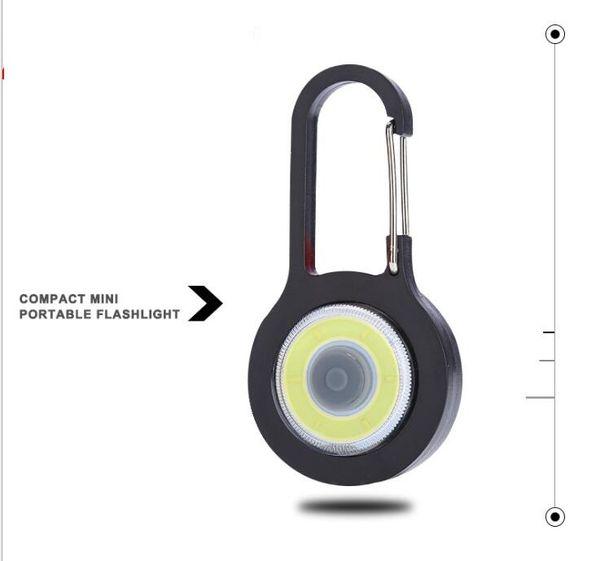Mini Keychain flashlights climbing button carabiner hooks lights led COB Key Chain Torch lamp creative multifunction outdoor camping tool