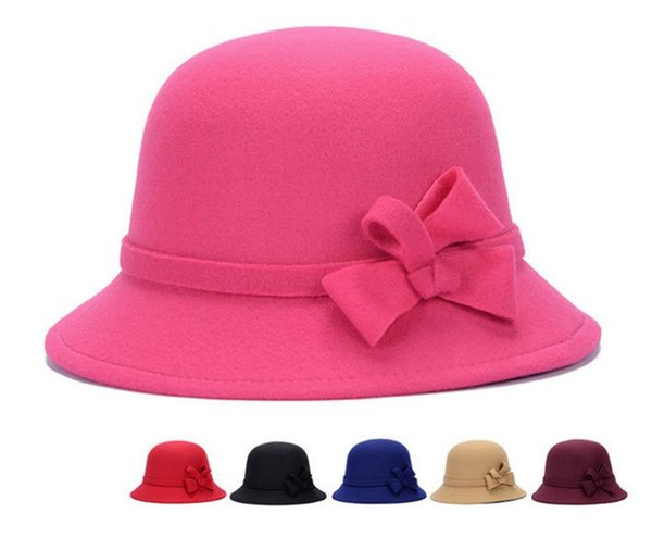 New Vintage Girls Ladies Top Hats Fashion Fascinator Bowknot Floppy Stingy Brim Hats Cute Caps Blend Felt Trilby Bowler Hat Christmas Gift