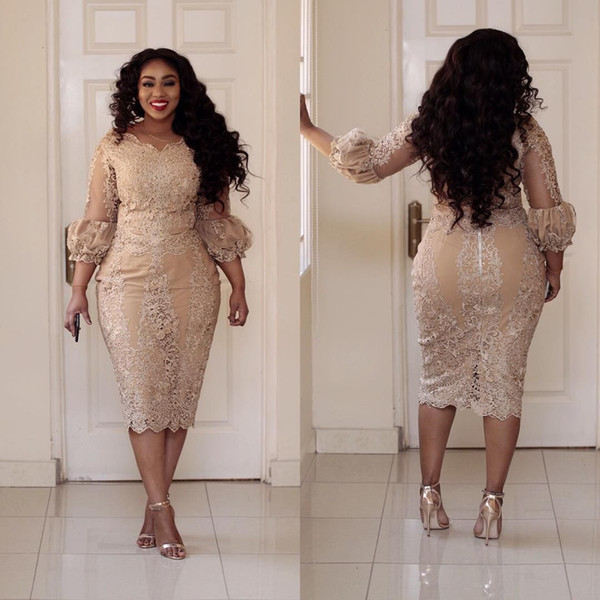 Plus Size Mermaid Mother Of The Bride Dresses African Champagne Tea Length Short Groom Mother Formal Dress 3/4 Sleeves Midi Outfits Evening