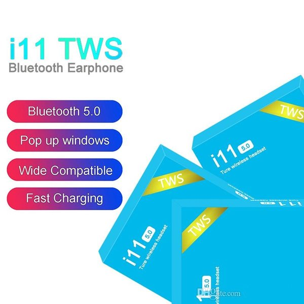 I11 tw wirele bluetooth headphone earbud with pop up window twin mini earbud for aphone io android i11 5 0 touch blue box