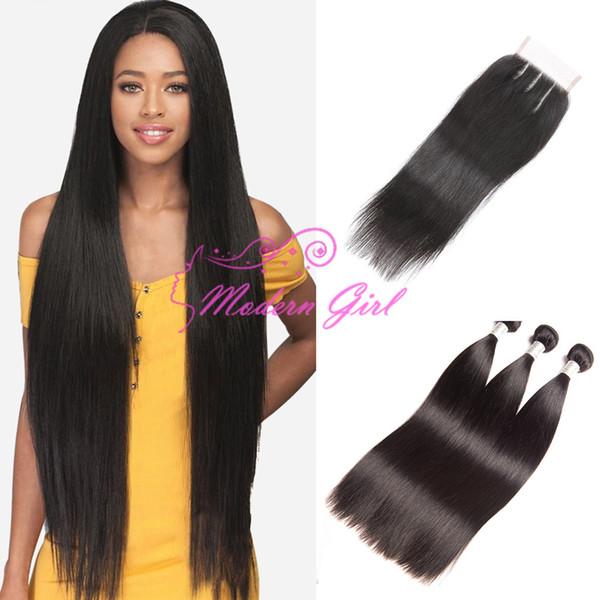 Paquetes recta 3 con el encierro del pelo 100% virgen de cierre cordón de mechones de cabello humano con el encierro brasileño paquetes de pelo Con