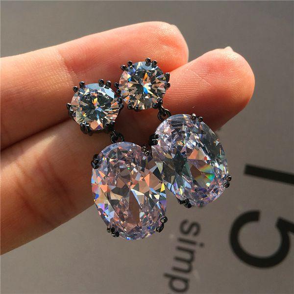Elegant Ladies Round Oval Stud Earrings Fashion Big Crystal Black Gold Earrings Vintage Rainbow Zircon Stone Wedding