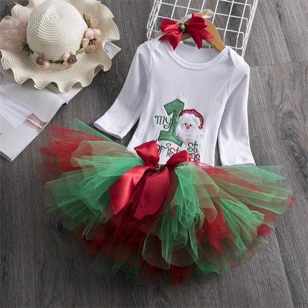 2019 Nueva llegada Vestidos de cumpleaños de Papá Noel para niñas Vestidos de manga larga Vestido de fiesta de tutú Vestido de niñas Vestidos de baile durante 1 año