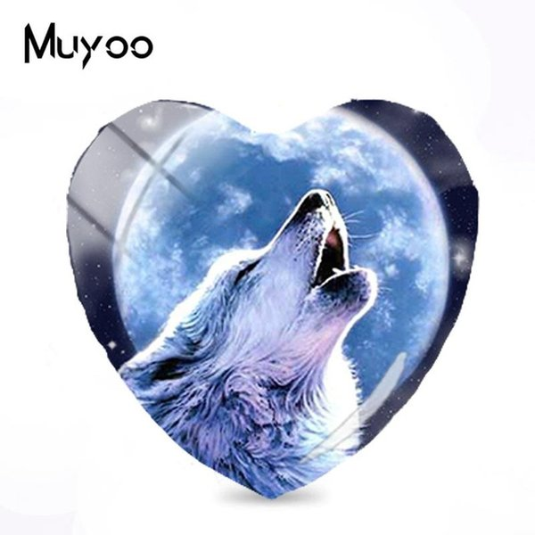 2019 New Howling Wolf Cabochon Moon Wolf Art Heart Glass Cabochons Hand Craft Photo Jewelry For Women