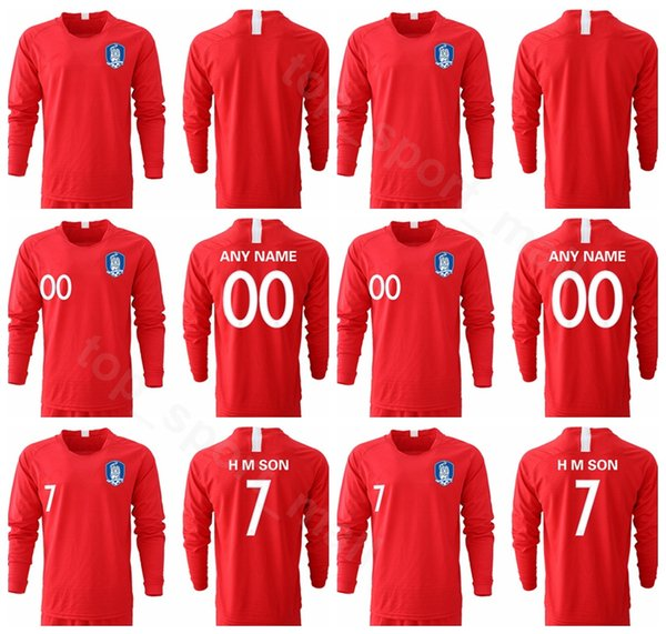 South Korea 7 H M SON Long Sleeve Jersey 2019 2020 Men Soccer 22 YHGO 2 YLEE 19 HMSON Football Shirt Kits Uniform
