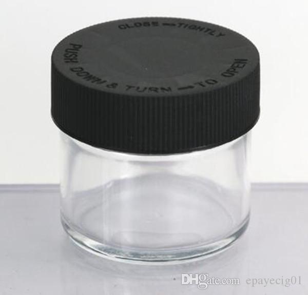 60 ml 2 oz jarra de vidrio transparente con tapón de rosca resistente al niño aceite de cera contenedor de almacenamiento de hierba seca depósito