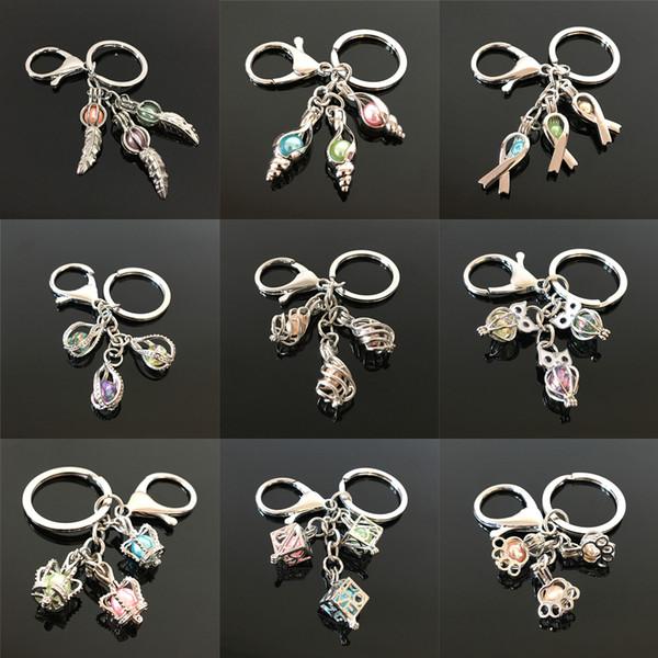 Mehr Arten Feder Twist Form Perle Käfig Perlen Käfig Schlüsselbund DIY Medaillon Anhänger Schlüsselanhänger Charms Geschenk