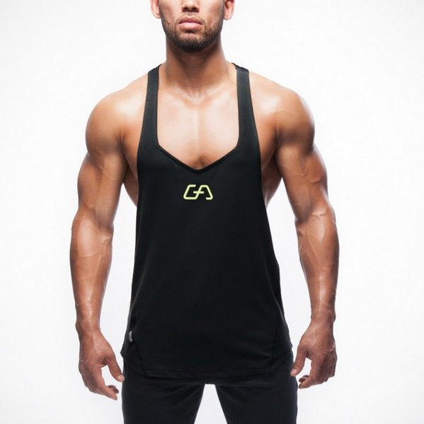 2019 hot gym Men's Sports Fitness Fashion vest for leisure exercise Elastic force outdoors Pure color logo simplicity trend