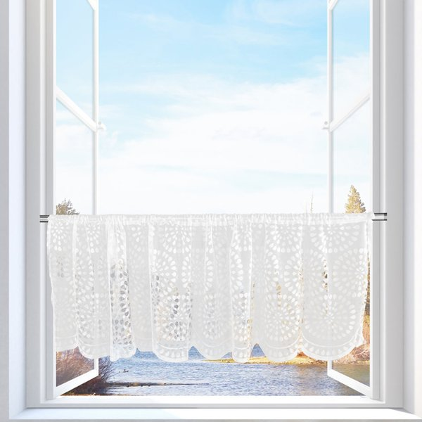 Demi rideau fenêtre broderie demi écran rideau fenêtre cantonnière rideaux romains pour cuisine café