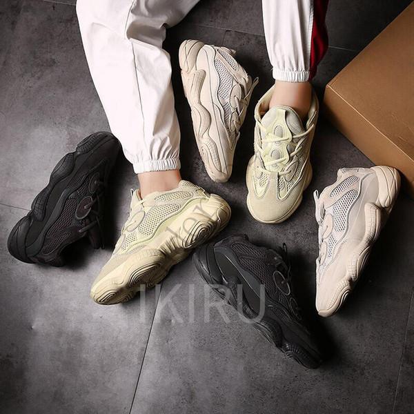 2019 O Novo Kanye Wests 500 Deserto Mouse Super Lua Preto l Homens Sapatilhas Sapatos Casuais Mulheres Sapatos Descrt