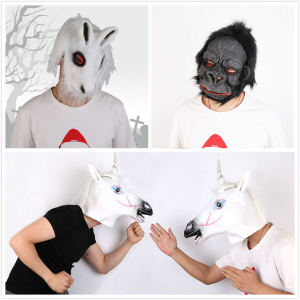 Halloween Creepy Animal Masque Latex Party Masque Unisexe Effrayant Cheval Gorille Lapin Tête Masque Halloween Effrayant Masques
