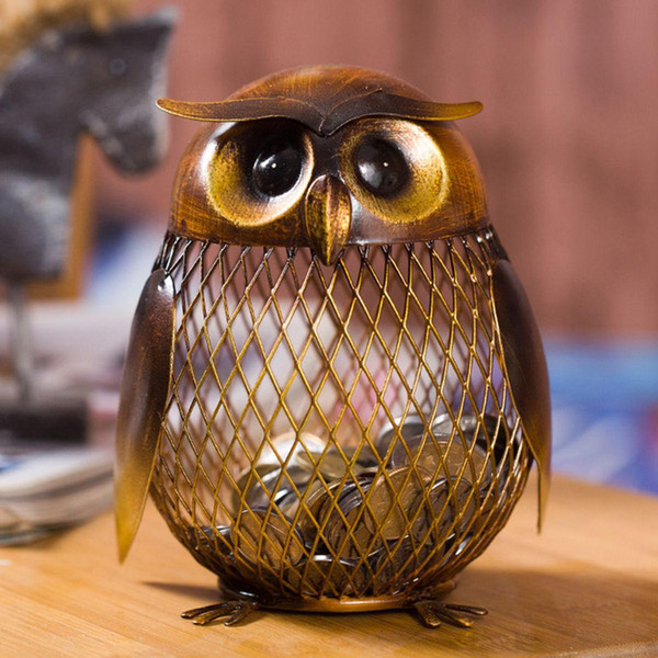 Tooarts Piggy Bank Owl Figurine Money Box Metal Coin Box Saving Box Home Decoration Crafts Gift for Coins New Year Decorations New