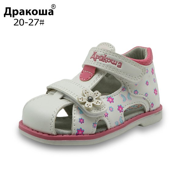 2017 New Summer Children Sandals For Girls Pu Leather Floral Princess Orthopedic Shoes Closed Toe Toddler Kids Girls Sandals Y19051303